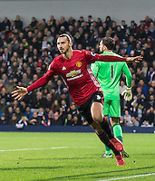 Zlatan Ibrahimovic of Manchester United celebrates scoring the opening goal during the EPL - Premier League match between West Bromwich Albion and Manchester United at The Hawthorns, West Bromwich, England on 17 December 2016. Photo by Andy Rowland / PRiME Media Images.