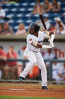 Pensacola Blue Wahoos Shrimp second baseman Shed Long (4) at bat during a game against the Jacksonville Jumbo on August 15, 2018 at Blue Wahoos Stadium in Pensacola, Florida.  Jacksonville defeated Pensacola 9-2.  (Mike Janes/Four Seam Images)