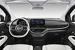 Stock photo of straight dashboard view of 2021 Fiat 500C La-Prima 2 Door Convertible Dashboard