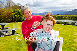 LAura Whelton Fossa getting her hair shaved by her mother Fiona  in aid of the Kerry Rape Crisis Centre on Tuesday