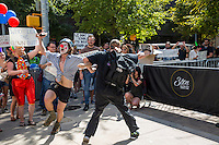 Austin, Texas - Tues., August 23, 2016: Protesters of republican presidential candidate Donald Trump, dance, cheer and jeer while Trump makes an appearance at a taping of a two-hour interview with Fox News host Sean Hannity at ACL Live at The Moody Theater in downtown Austin, Texas.<br /> <br /> Use of this image in advertising or for promotional purposes is prohibited.<br /> <br /> Editorial Credit: Photo by Dan Herron / Herron Stock