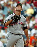 New York Mets relief pitcher Billy Wagner looks skyward after striking out Philadelphia Phillies batter Sal Fasano for the final out in the ninth inning of the MLB game Thursday, June, 15, 2006 in Philadelphia. Mets beat the Phillies 5-4. NEWSDAY/Bradley C Bower)