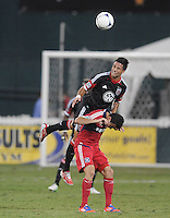 D.C. United midfielder Marcelo Saragosa (11) heads the ball against Chicago Fire midfielder Marco Pappa (16) D.C. United defeated The Chicago Fire 4-2 at RFK Stadium, Wednesday August 22, 2012.