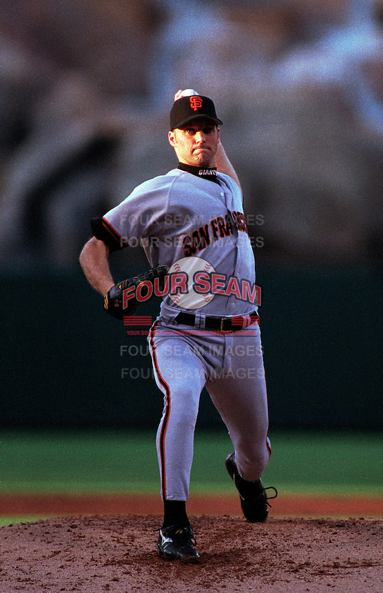Shawn Estes of the San Francisco Giants plays in a baseball game at Edison International Field during the 1998 season in Anaheim, California. (Larry Goren/Four Seam Images)