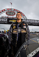 Aug 31, 2014; Clermont, IN, USA; NHRA pro stock driver Vincent Nobile during qualifying for the US Nationals at Lucas Oil Raceway. Mandatory Credit: Mark J. Rebilas-USA TODAY Sports