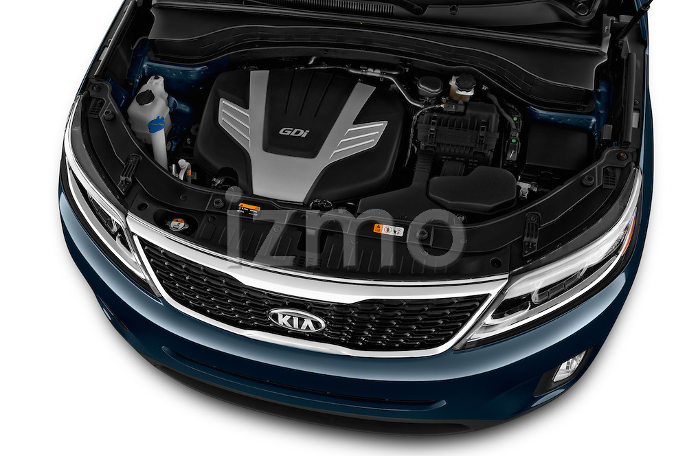 Car Stock 2015 KIA Sorento EX V6 AT 5 Door Suv 2WD Engine high angle detail view