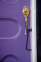 New Orleans, Louisiana.  French Quarter.  Door, Door Handle, and Lock.