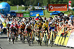 Thibaut Pinot (FRA) Groupama-FDJ leads Yellow Jersey Primoz Roglic (SLO) Team Jumbo-Visma to the finish line at the end of Stage 4 of Criterium du Dauphine 2020, running 157km from Ugine to Megeve, France. 15th August 2020.<br /> Picture: ASO/Alex Broadway | Cyclefile<br /> All photos usage must carry mandatory copyright credit (© Cyclefile | ASO/Alex Broadway)
