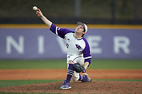 High Point Panthers relief pitcher KJ Wells (30) delivers a pitch to the plate against the Campbell Camels at Williard Stadium on March 16, 2019 in  Winston-Salem, North Carolina. The Camels defeated the Panthers 13-8. (Brian Westerholt/Four Seam Images)