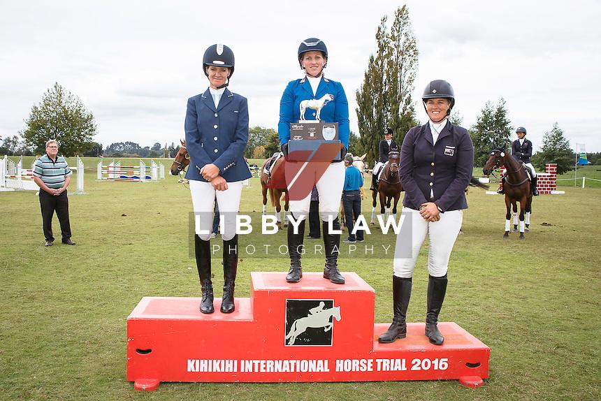CIC3* TITLE WINNER: NZL-Katherine Van-Tuyl (DOUBLE J SUNSHINE) FINAL-1ST: NZL-Dannie Lodder (TOMAHAWK II) FINAL-2ND: NZL-Donna Edwards-Smith (MR HOKEY POKEY) FINAL-3RD: CIC3* PRIZEGIVING: 2016 NZL-Kihikihi International Horse Trial (Sunday 10 April) CREDIT: Libby Law COPYRIGHT: LIBBY LAW PHOTOGRAPHY