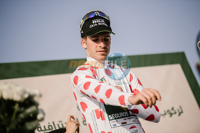 Joel Nicolau Beltran (ESP) Caja Rural-Seguros RGA takes over the Polka Dot Jersey at the end of Stage 4 of the Saudi Tour 2020 running 137km from Wadi Namar Park to Al Muzahimiyah King Saud University, Saudi Arabia. 7th February 2020. <br /> Picture: ASO/Pauline Ballet | Cyclefile<br /> All photos usage must carry mandatory copyright credit (© Cyclefile | ASO/Pauline Ballet)