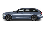 Car Driver side profile view of a 2021 Volvo V90-Recharge R-Design 5 Door Wagon Side View