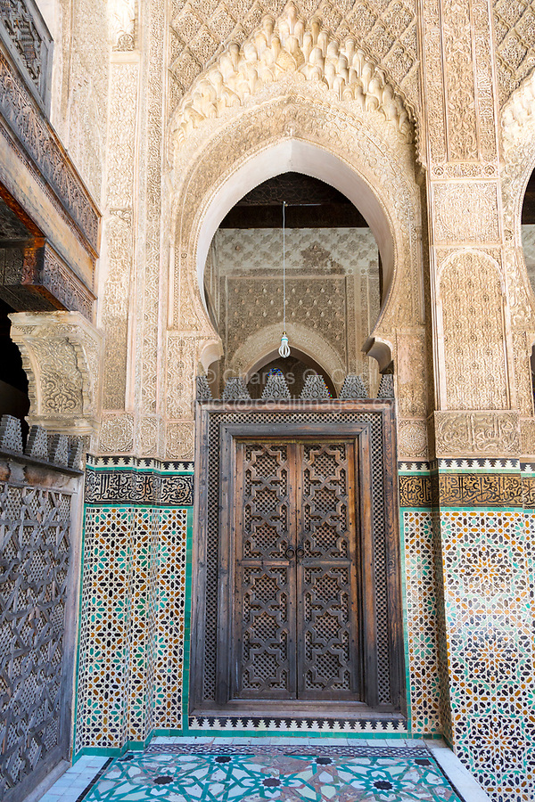 Fes, Morocco.  Medersa Bou Inania, Tile Work, Stucco, and Woodwork Decoration.