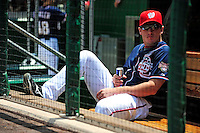 4 July 2009: Washington Nationals starting pitcher Jordan Zimmermann enjoys a beverage in the dugout prior to a game against the Atlanta Braves at Nationals Park in Washington, DC. The Nationals rallied with 4 runs in the 8th inning to defeat the Braves 5-3 and take the second game tying the 3-game weekend series. Mandatory Credit: Ed Wolfstein Photo