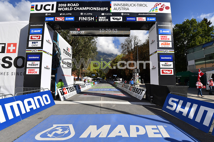 Picture by Simon Wilkinson/SWpix.com - 25/09/2018 - UCI Road World Championships 2018 Innsbruck Austria - Individual Men ITT Men Junior The Brief - Tissot, Shimano,Mapei,Skoda - finish gantry,branding