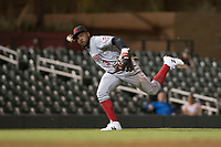 Scottsdale Scorpions shortstop Alfredo Rodriguez (3), of the Cincinnati Reds organization, throws to first base during an Arizona Fall League game against the Salt River Rafters at Salt River Fields at Talking Stick on October 11, 2018 in Scottsdale, Arizona. Salt River defeated Scottsdale 7-6. (Zachary Lucy/Four Seam Images)