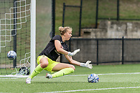 NEWTON, MA - AUGUST 29: Wiebke Willebrandt #1 of Boston College takes shots before a game between University of Connecticut and Boston College at Newton Campus Soccer Field on August 29, 2021 in Newton, Massachusetts.