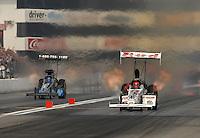 Nov 4, 2007; Pomona, CA, USA; NHRA top fuel dragster driver Brandon Bernstein (right) leads David Grubnic during the Auto Club Finals at Auto Club Raceway at Pomona. Mandatory Credit: Mark J. Rebilas-US PRESSWIRE