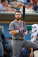 Lehigh Valley IronPigs designated hitter Trevor Plouffe (19) in the dugout during a game against the Rochester Red Wings on June 30, 2018 at Frontier Field in Rochester, New York.  Lehigh Valley defeated Rochester 6-2.  (Mike Janes/Four Seam Images)