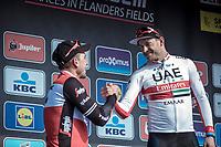 Podium:<br /> <br /> Race winner Alexander Kristoff (NOR/UAE) congratulated by 2nd place finisher John Degenkolb (GER/Trek Segafredo)<br /> <br /> 82nd Gent – Wevelgem in Flanders Fields 2019 (1.UWT)<br /> Deinze – Wevelgem: 251,5km<br /> ©kramon