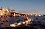 Sea kayaker, Seattle, Lake Union, houseboats, Seattle's most unique, floating home neighborhood, Washington State, Pacific Northwest, United States,