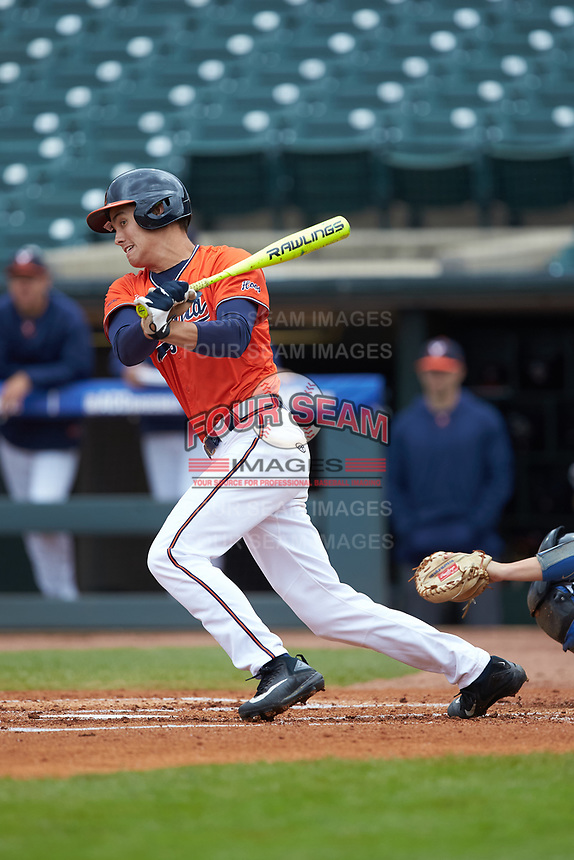 Cameron Simmons (20) of the Virginia Cavaliers follows through on his swing against the Duke Blue Devils in Game Seven of the 2017 ACC Baseball Championship at Louisville Slugger Field on May 25, 2017 in Louisville, Kentucky. The Blue Devils defeated the Cavaliers 4-3. (Brian Westerholt/Four Seam Images)