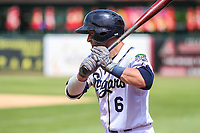 Kane County Cougars catcher Tim Susnara (6) waits on deck during a Midwest League game against the Quad Cities River Bandits on July 1, 2018 at Northwestern Medicine Field in Geneva, Illinois. Quad Cities defeated Kane County 3-2. (Brad Krause/Four Seam Images)