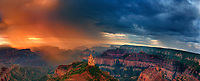 935000008 panoramic view sunrise storms and heavy cloud cover over mount hayden at point imperial north rim of the grand canyon in arizona united states