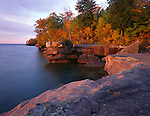 Big Bay State park, WI<br /> Lake Superior and sandstone cliffs of Big Bay Point at dawn, Madeline Island, Apostle Islands, Ashland County