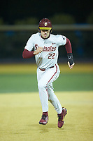 Drew Mendoza (22) of the Florida State Seminoles hustles towards third base against the Wake Forest Demon Deacons at David F. Couch Ballpark on March 9, 2018 in  Winston-Salem, North Carolina.  The Seminoles defeated the Demon Deacons 7-3.  (Brian Westerholt/Four Seam Images)