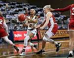 SIOUX FALLS, SD - MARCH 7: Reneya Hopkins #0 of the North Dakota State Bison drives to the basket past Meghan Boyd #0 of the Denver Pioneers during the Summit League Basketball Tournament at the Sanford Pentagon in Sioux Falls, SD. (Photo by Dave Eggen/Inertia)