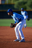 AZL Royals first baseman Diego Maican (13) during an Arizona League game against the AZL Brewers Blue at Surprise Stadium on June 18, 2019 in Surprise, Arizona. AZL Royals defeated AZL Brewers Blue 12-7. (Zachary Lucy/Four Seam Images)