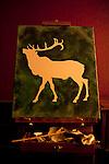 Artist's paintings in studio