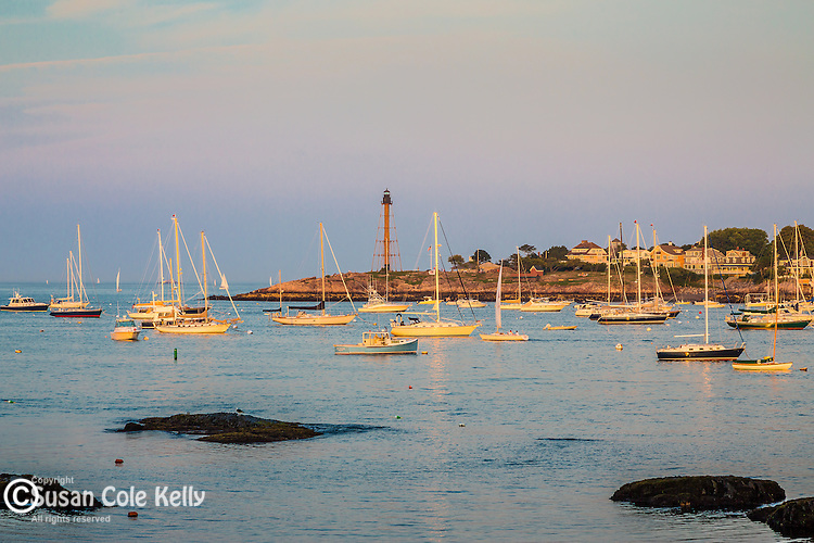 A summer evening in Marblehead Harbor in Marblehead, Massachusetts, USA