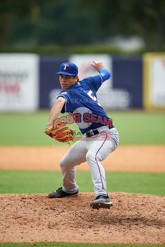 Jimmy Titus (5) of East Catholic High School in Stafford, Connecticut playing for the Texas Rangers scout team during the East Coast Pro Showcase on July 30, 2015 at George M. Steinbrenner Field in Tampa, Florida.  (Mike Janes/Four Seam Images)