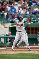 Wisconsin Timber Rattlers right fielder Jonathan Oquendo (2) at bat during a game against the Fort Wayne TinCaps on May 10, 2017 at Parkview Field in Fort Wayne, Indiana.  Fort Wayne defeated Wisconsin 3-2.  (Mike Janes/Four Seam Images)
