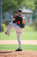 Miami Marlins Blake Logan (50) during a minor league Spring Training intrasquad game on March 31, 2016 at Roger Dean Sports Complex in Jupiter, Florida.  (Mike Janes/Four Seam Images)