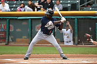 Didi Gregorius (1) of the Reno Aces at bat against the Salt Lake Bees at Smith's Ballpark on May 5, 2014 in Salt Lake City, Utah.  (Stephen Smith/Four Seam Images)