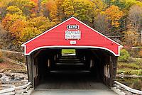 Covered bridge in autumn, Bath, New Hampshire, USA.