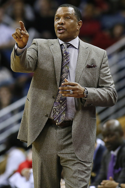 New Orleans Pelicans head coach Alvin Gentry reacts during the second half of an NBA basketball game against the Minnesota Timberwolves Tuesday, Jan. 19, 2016, in New Orleans. The Pelicans won 114-99.(AP Photo/Jonathan Bachman)