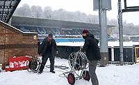 Preparations for the FA Cup match between Wycombe Wanderers v Tottenham Hotspur at Adam Park Stadium in snow - Snow and bad weather hits High Wycombe during the  at  on the 24 January 2021. Photo by Andy Rowland.