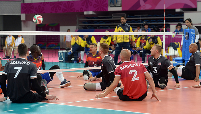 Austin Hinchey, Bryce Foster, and Mikael Bartholdy, Lima 2019 - Sitting Volleyball // Volleyball assis.<br /> Canada competes in men's Sitting Volleyball // Canada participe au volleyball assis masculin. 24/08/2019.