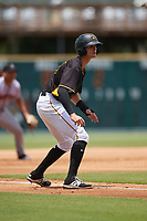 Bradenton Marauders center fielder Jared Oliva (43) leads off third base during the first game of a doubleheader against the Jupiter Hammerheads on May 27, 2018 at LECOM Park in Bradenton, Florida.  Bradenton defeated Jupiter 13-5.  (Mike Janes/Four Seam Images)