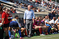 CARY, NC - SEPTEMBER 12: Head coach Paul Riley of the North Carolina Courage paces the sideline during a game between Portland Thorns FC and North Carolina Courage at Sahlen's Stadium at WakeMed Soccer Park on September 12, 2021 in Cary, North Carolina.
