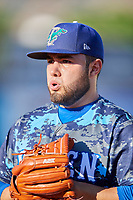 Ogden Raptors starting pitcher Antonio Hernandez (27) before the game against the Rocky Mountain Vibes at Lindquist Field on July 5, 2019 in Ogden, Utah. The Raptors defeated the Vibes 6-4. (Stephen Smith/Four Seam Images)