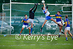 A tussle in mid in the Glenflesk goalmouth between Glenflesk keeper Marc Kelliher and Desmonds Adam O'Donoghue in the Intermediate Football Club Championship