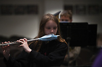 Kenzie Koone plays the flute during a band class, Monday, October 5, 2020 at Clinton Junior High School in Clinton. Check out nwaonline.com/2010010Daily/ for today's photo gallery. <br /> (NWA Democrat-Gazette/Charlie Kaijo)