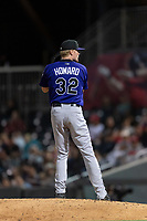 Albuquerque Isotopes relief pitcher Sam Howard (32) during a Pacific Coast League game against the El Paso Chihuahuas at Southwest University Park on May 10, 2019 in El Paso, Texas. Albuquerque defeated El Paso 2-1. (Zachary Lucy/Four Seam Images)