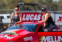 Oct 20, 2019; Ennis, TX, USA; NHRA pro stock driver Erica Enders (right) with sister Courtney Enders during the Fall Nationals at the Texas Motorplex. Mandatory Credit: Mark J. Rebilas-USA TODAY Sports