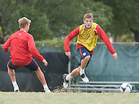Stuart Holden and Robbie Rogers. U.S. Men's National Team training at RFK Stadium  Monday October 12, 2009  in Washington, D.C.